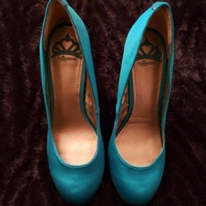 Peacock blue satin shoes